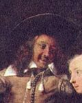Metsu, Gabriel - himself in the painting Liebespaar beim Frühstück - 1661.jpg
