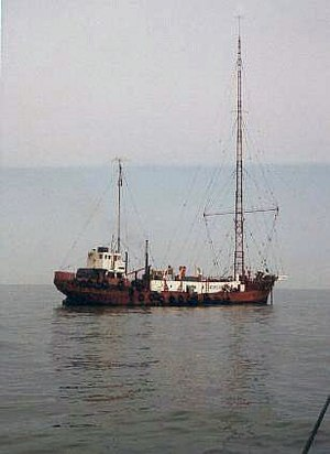 Pirate radio in the United Kingdom - The MV Mi Amigo, c. 1974, which had been used as the home of Radio Caroline South from 1964 to 1968 and 1972–1980