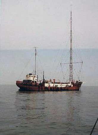 Radio Caroline - The MV Mi Amigo, c. 1974, which had been used as the home of Radio Caroline South from 1964–1967