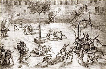 Huguenots massacring Catholics in the Michelade in Nimes. Michelade.jpeg