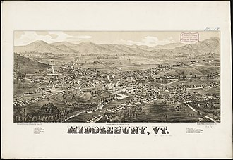 Middlebury, Vermont - Lithograph of Middlebury from 1886 by L.R. Burleigh with list of landmarks