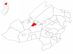 Mine Hill Township highlighted in Morris County. Inset map: Morris County highlighted in the State of New Jersey.