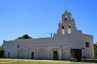 Mission San Juan Capistrano (Texas) - The church of Mission San Juan Capistrano and its integral campanario