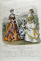 Modeplansch från 1868 ur Journal des Dames et des Demoiselles. Två kvinnor och en flicka i modedräkter - Nordiska Museet - NMA.0032513.jpg