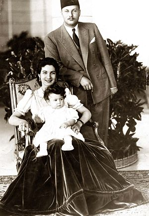 Princess Farial of Egypt - Princess Ferial with King Farouk and Queen Farida, c. 1940.