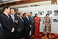 Mohd. Hamid Ansari, the Vice President of China, Mr. Li Yuanchao and the Myanmar President Mr. Thein Sein going round the photo exhibition, at Diaoyutai State House.jpg