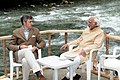 Mohd. Hamid Ansari in conversation with the Chief Minister of Jammu and Kashmir, Shri Omar Abdullah, on the issue of Preservation of Biodiversity, during his visit to Dachigam National Park, in Srinagar on September 16, 2012.jpg