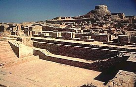 """""""大浴場""""こと沐浴施設。 後方にクシャーナ朝時代の仏塔を臨む。"""