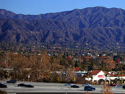 I210 in Monrovia with San Gabriel Mountains in the background.