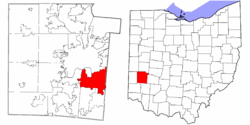 Location of Kettering in Montgomery County and state of Ohio
