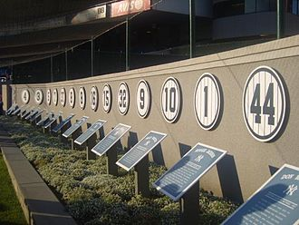 Monument Park (Yankee Stadium) - Plaques lined the rear wall of the original Monument Park