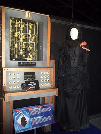 The Crimson Horror - Mrs Gillyflower's costume, Mr. Sweet and the controls to launch the rocket, as shown at the Doctor Who Experience.