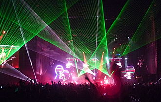 Laser lighting display - Muse on stage at Outside Lands Music and Arts Festival in San Francisco, 13 August 2011