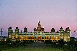 Mysore literature in Kannada - Image: Mysore Palace at dusk