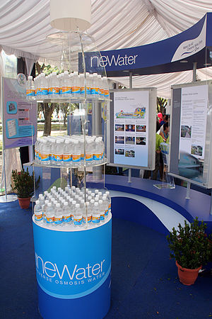 Environmental issues in Singapore - Bottles of NEWater on display at a 2005 function