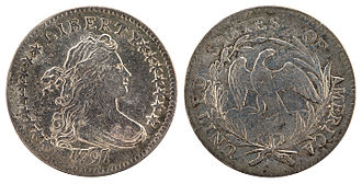 Dime (United States coin) - Image: NNC US 1797 10C Draped Bust (small eagle)