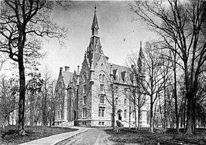 History of Northwestern University - University Hall as it appeared in 1877.