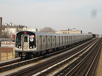 N (New York City Subway service) - An N train of R160B cars approaching 39th Avenue in Queens.
