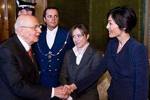 Mara Carfagna - Mara Carfagna and the Minister of Youth Policy Giorgia Meloni with the President of the Italian Republic Giorgio Napolitano in 2009