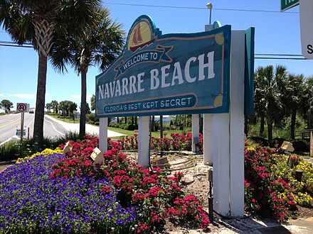The Old Navarre Beach Sign In Spring Time
