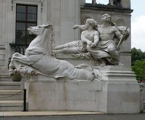 Glamorgan Building - Neptune in a chariot, representing navigation