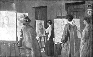 Art colony - Students at work at the Newlyn Art School, 1910