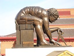 Bronze sculpture Newton, after William Blake, 1995, by Eduardo Paolozzi