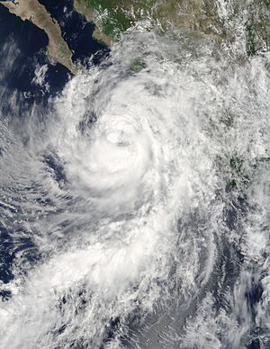 Hurricane Newton (2016) - Newton nearing Baja California as a strong tropical storm on September 5