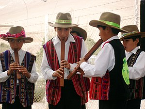 Culture of Bolivia - Bolivian children playing the tarka.