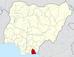 Map of Nigeria highlighting Akwa Ibom State