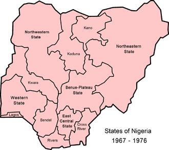 States of Nigeria - Image: Nigeria states 1967 1976
