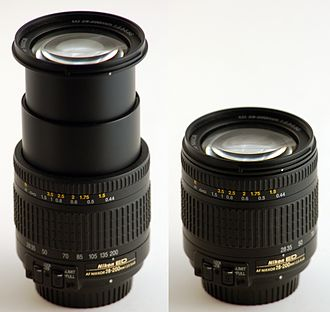 Lenses for SLR and DSLR cameras - Nikkor 28–200 mm zoom lens, extended to 200 mm at left and collapsed to 28 mm focal length at right