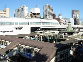 Nippori Station - Elevated view of Nippori station in September 2009