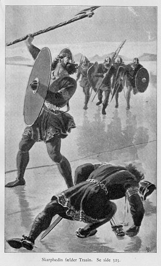 Njáls saga - Njáll's son Skarp-Heðinn kills Þráinn on the ice. Family feuds feature prominently in Njáls saga.