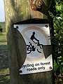 No cycling sign on a post, Deadman Hill, New Forest - geograph.org.uk - 466265.jpg
