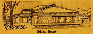 Nokomis Library - The front exterior of Nokomis, from a 1968 informational brochure
