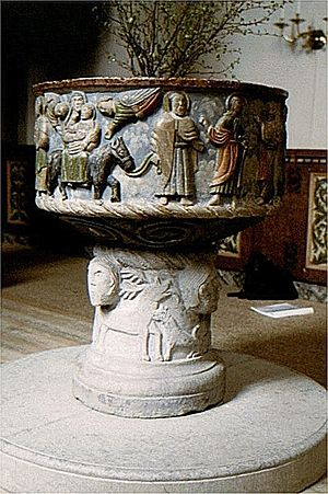 Fole Church - The Romanesque baptismal font
