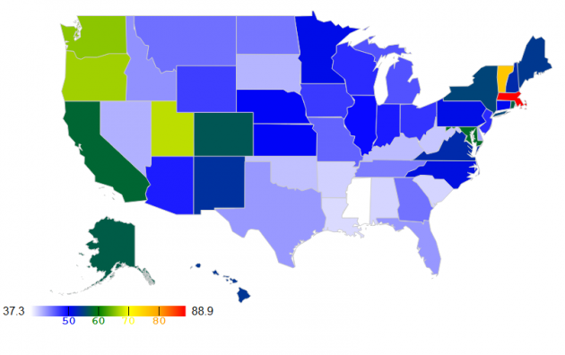 Normalized heatmap of per-capita signatures to Access2Research petition by U.S. state