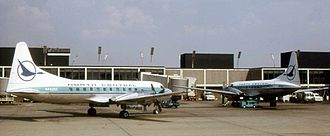 North Central Airlines - Two North Central CV-580 aircraft at Chicago's O'Hare Airport in 1973.