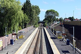 North from footbridge, Maghull North.jpg