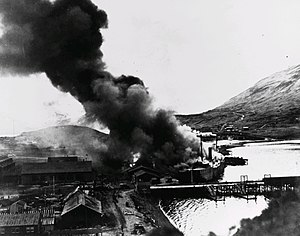 Battle of Dutch Harbor - Barracks ship Northwestern engulfed by flames in Dutch Harbor after the second Japanese airstrike, 4 June 1942