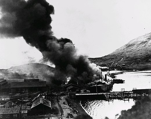 Barracks ship Northwestern engulfed by flames in Dutch Harbor after the second Japanese airstrike, June 4, 1942 NorthwesternInFlames-2.jpg