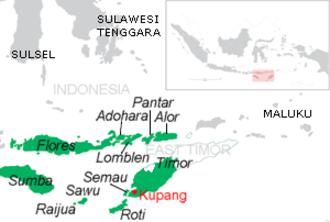 Pantar - Map of the islands of East Nusa Tenggara, including Pantar