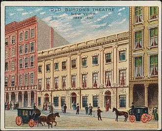 Palmo's Opera House - A colored lithograph from a cigarette card (c. 1910) of Old Burton's Theatre