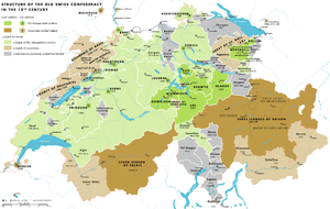 Early Modern Switzerland - Map of the Swiss Confederacy during the 18th century. Member cantons are shown in green, associates in brown, condominiums in grey.