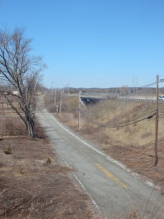 New Jersey Route 15 - Route 15's former and current alignment over the Lehigh and Hudson River Railway alignment in Woodruffs Gap