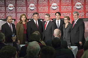 Kathleen Wynne - Ontario Liberal leadership candidates. Harinder Takhar, Sandra Pupatello, Charles Sousa, Gerard Kennedy, Eric Hoskins, Kathleen Wynne, and Glen Murray