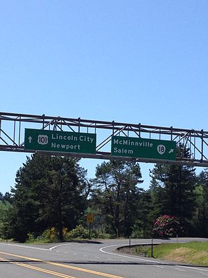 Oregon Route 18 - Oregon 18 interchange from US 101 south in Otis Junction