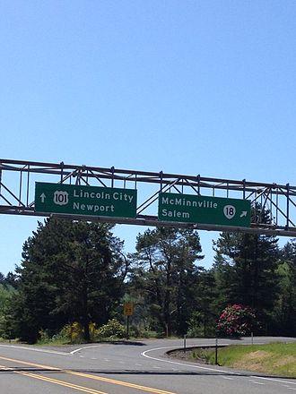 Oregon Route 18 - Oregon 18 interchange from US 101 south in Otis Junction