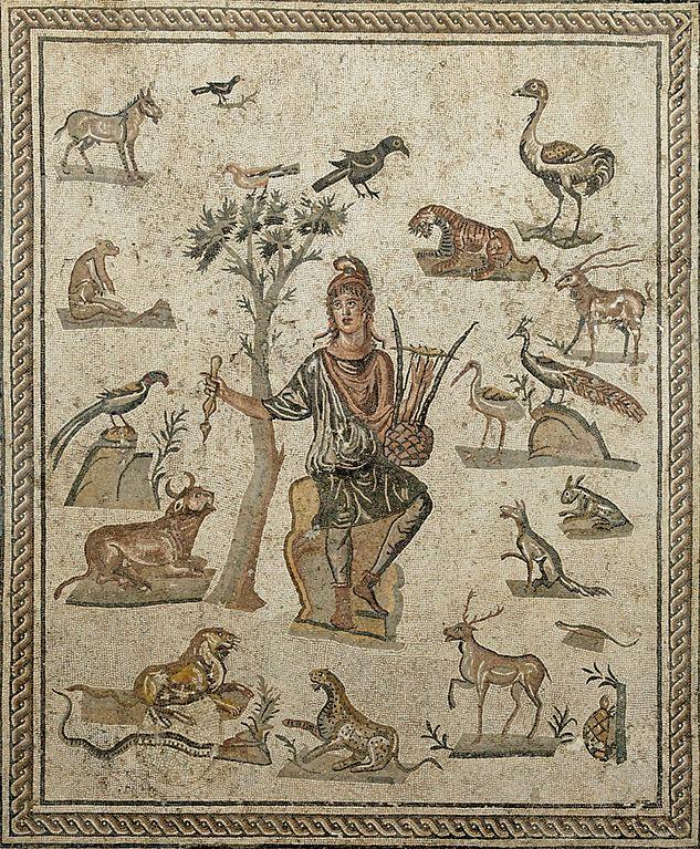 Orphée entouré d'animaux. Œuvre romaine, provenance : bâtiment A de la Piazza della Vittoria à Palerme. © Marie-Lan Nguyen / Wikimedia Commons / CC-BY 2.5